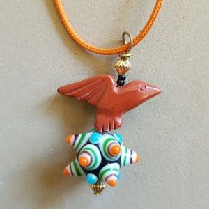 Carved STONE EAGLE on Art Glass bead necklace